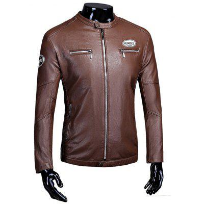 Zip Up Patch Flocking Faux Leather Jacket