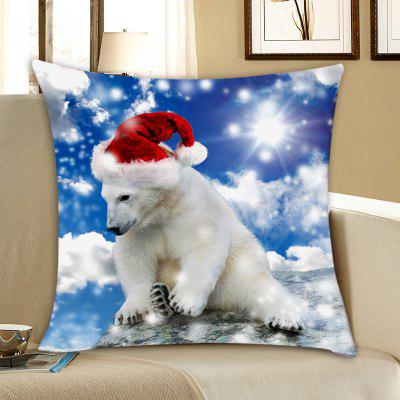 Bear with Christmas Hat Print Pillowcase