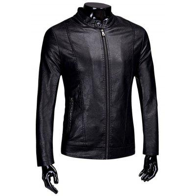 Flocking Casual PU Leather Jacket