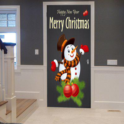 Christmas Snowman Print Door Decor Stickers