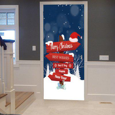Christmas Fingerpost Print Door Decor Stickers