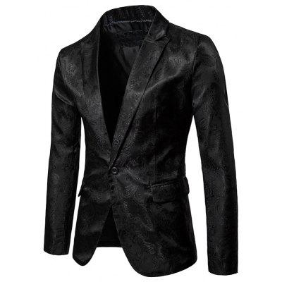 Fashion Nice Lapel One Button Male Slim Fitted Blazer Style Jacket Coat