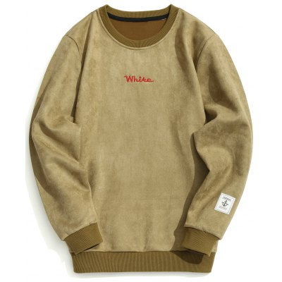 Buy Suede Letter Embroidered Sweatshirt, KHAKI, 2XL, Apparel, Men's Clothing, Men's Hoodies & Sweatshirts for $34.22 in GearBest store