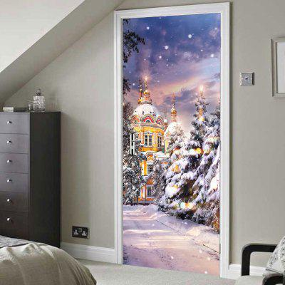 Christmas Castle Print Door Decor Stickers