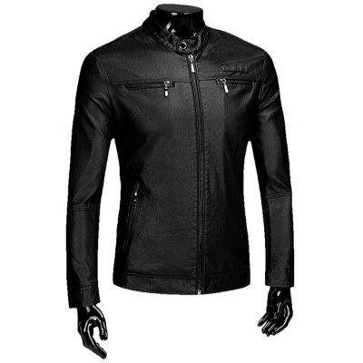Zipper Flocking Faux Leaather Jacket