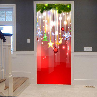 Christmas Hanging Decorations Pattern Door Art Stickers