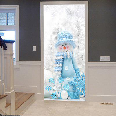 Christmas Snowman Snowflake Pattern Door Art Stickers