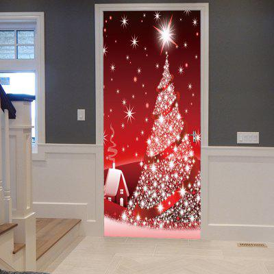 Sparkling Christmas Tree Pattern Door Decor Stickers