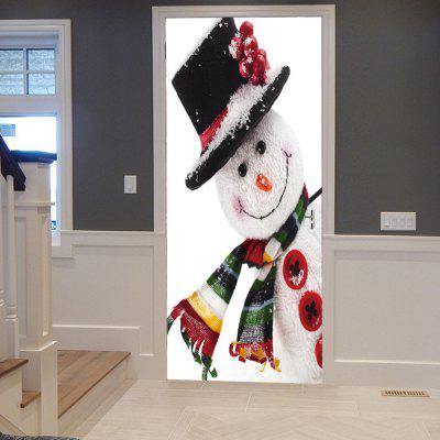 Christmas Snowman Pattern Door Decor Stickers