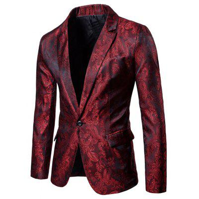 Lapel One Button Florals Jacquard Blazer