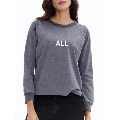 Raglan Sleeve High Low All Print Graphic Sweatshirt