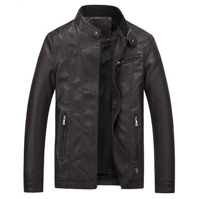 Stand Collar Flocking Casual Faux Leather Jacket