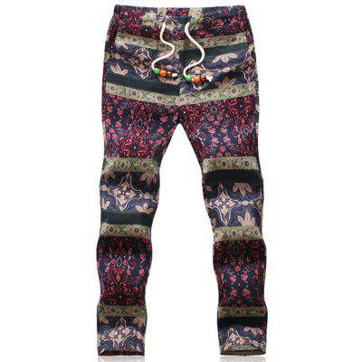 Ethnic Style Floral Print Loose Linen Pants
