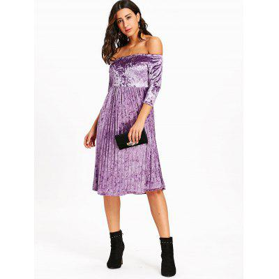 Velvet Off The Shoulder Pleated DressWomens Dresses<br>Velvet Off The Shoulder Pleated Dress<br><br>Dresses Length: Knee-Length<br>Material: Polyester<br>Neckline: Off The Shoulder<br>Occasion: Casual<br>Package Contents: 1 x Dress<br>Pattern Type: Solid Color<br>Season: Fall, Winter<br>Silhouette: A-Line<br>Sleeve Length: 3/4 Length Sleeves<br>Style: Casual<br>Waist: Empire<br>Weight: 0.4300kg<br>With Belt: No