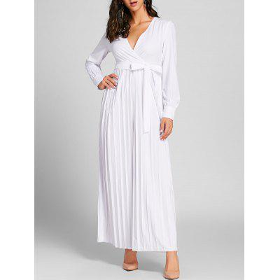 Surplice Neck Pleated Maxi Warp Dress