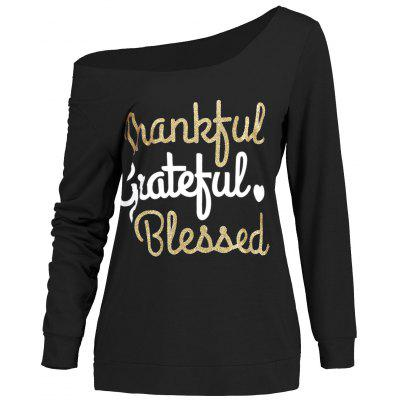 Thanks Giving Graphic Print Skew Neck Top