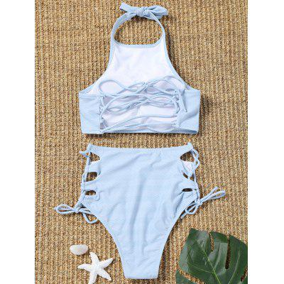 Striped Side Lace Up High Waisted BikiniLingerie &amp; Shapewear<br>Striped Side Lace Up High Waisted Bikini<br><br>Bra Style: Padded<br>Elasticity: Elastic<br>Gender: For Women<br>Material: Chinlon<br>Neckline: High Neck<br>Package Contents: 1 x Top  1 x Briefs<br>Pattern Type: Striped<br>Support Type: Wire Free<br>Swimwear Type: Bikini<br>Waist: High Waisted<br>Weight: 0.2050kg