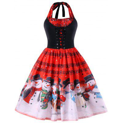 Christmas Plus Size Music Notes Halter Dress