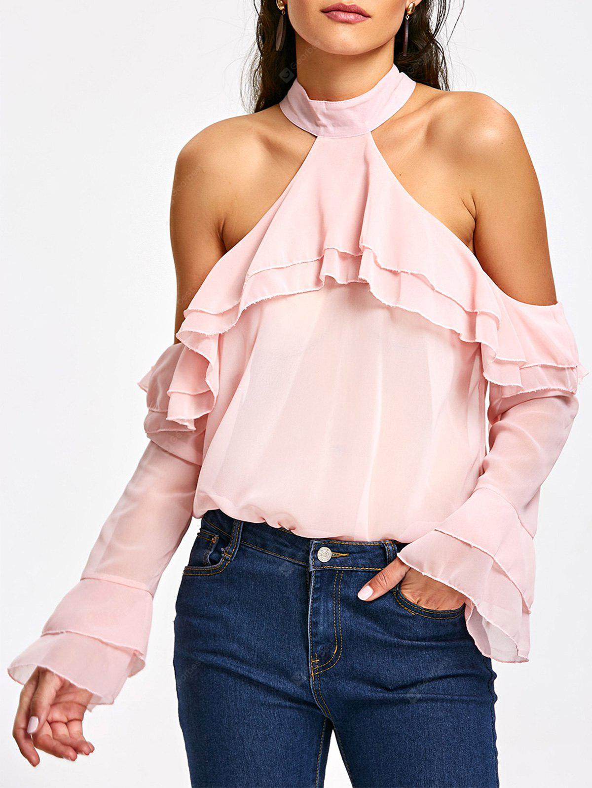 Ruffle Layered Cold Shoulder Blouse