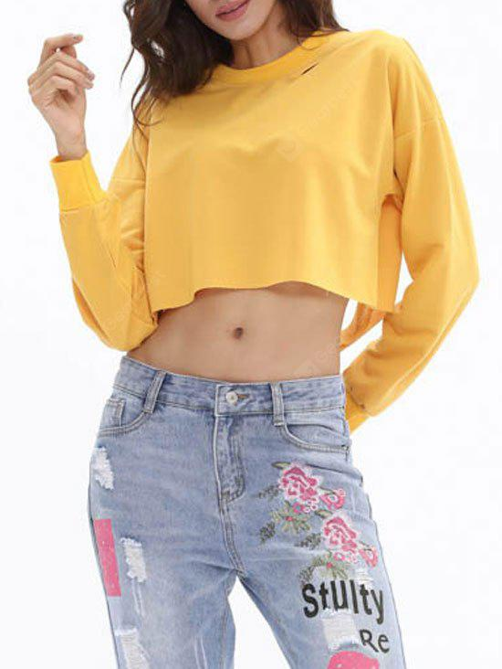 Cut Out Ripped High Low Cropped Sweatshirt