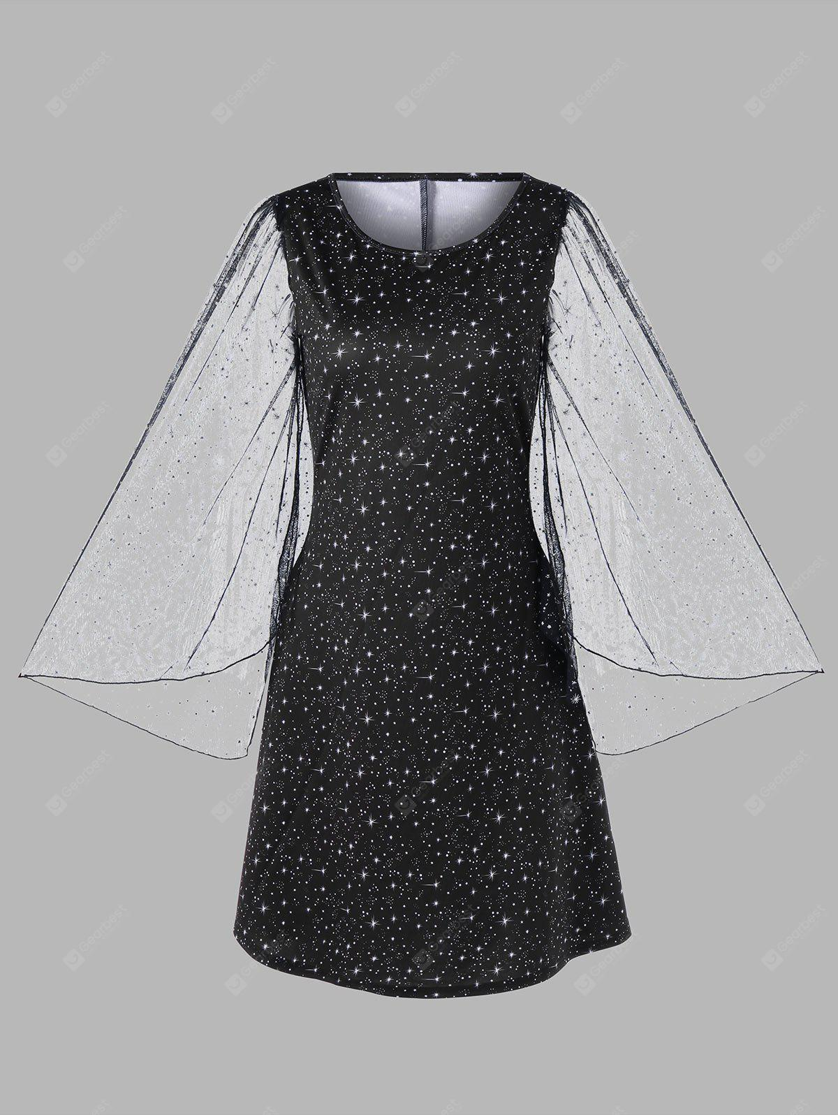 Plus Size Flare Sleeve Galaxy Dress