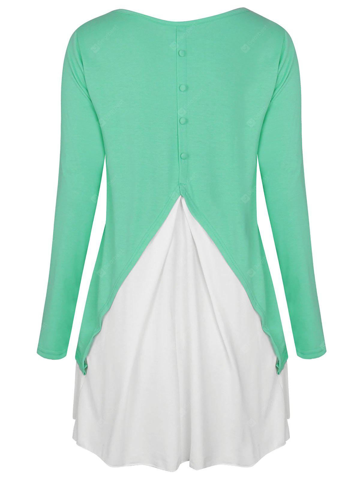 High Low Two Tone Button Embellished T-shirt