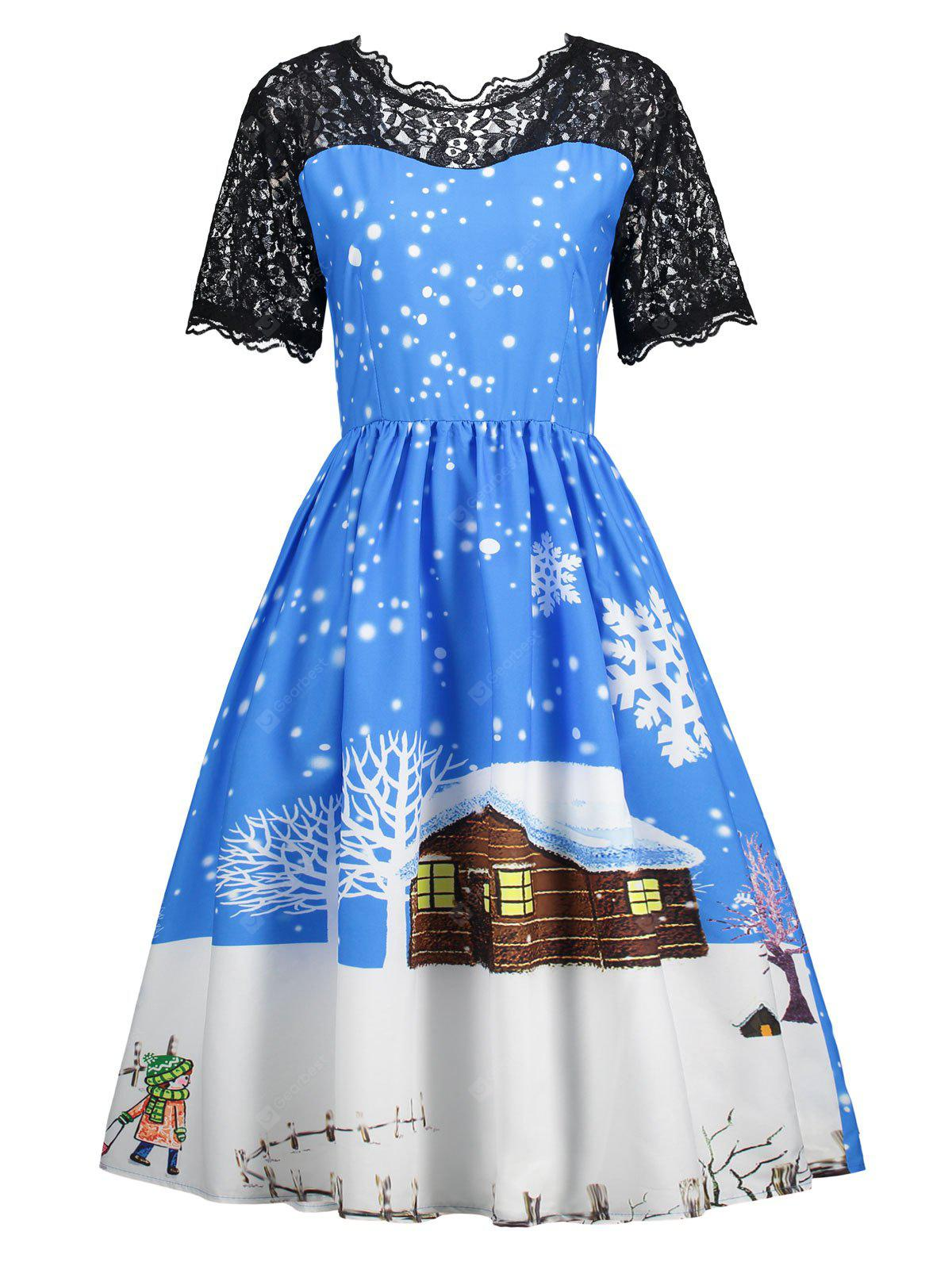 Christmas Snow Print Lace Panel Dress