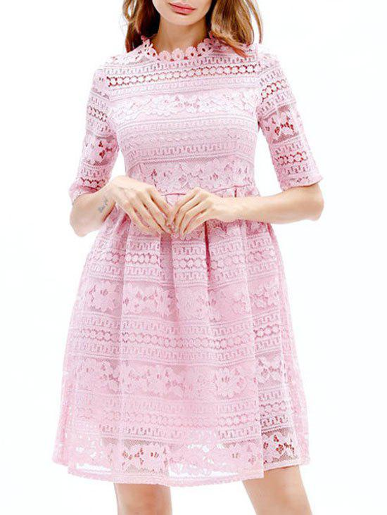 Embroidered Lace Mini A Line Dress