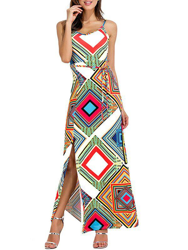 Cut Out Geometrical High Slit Maxi Dress