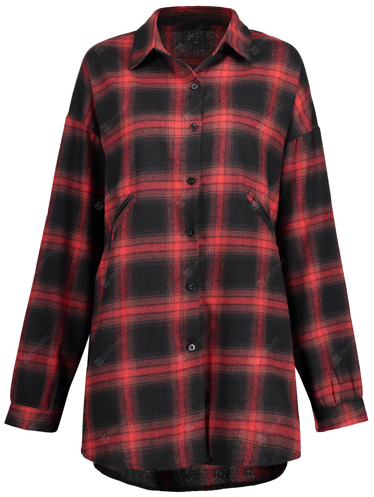 Plus Size Check Button Up Shirt