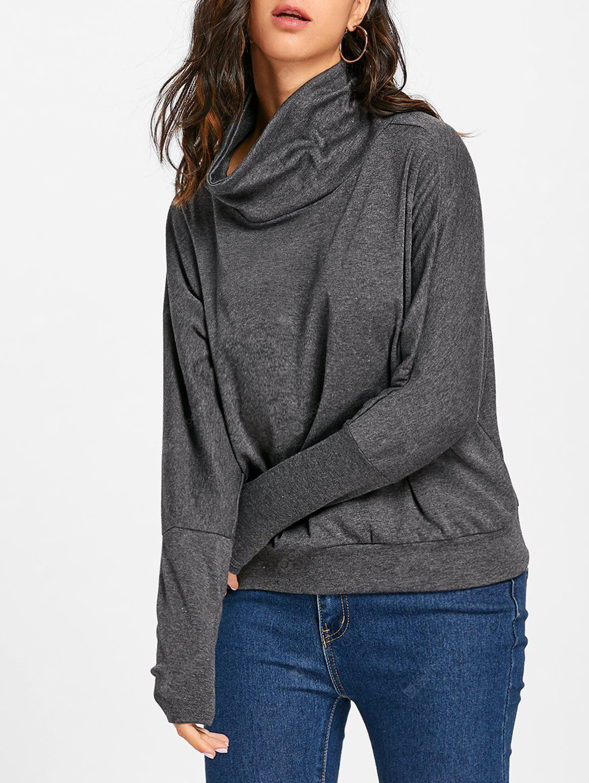 Buttons Cowl Neck Batwing Sleeve Top