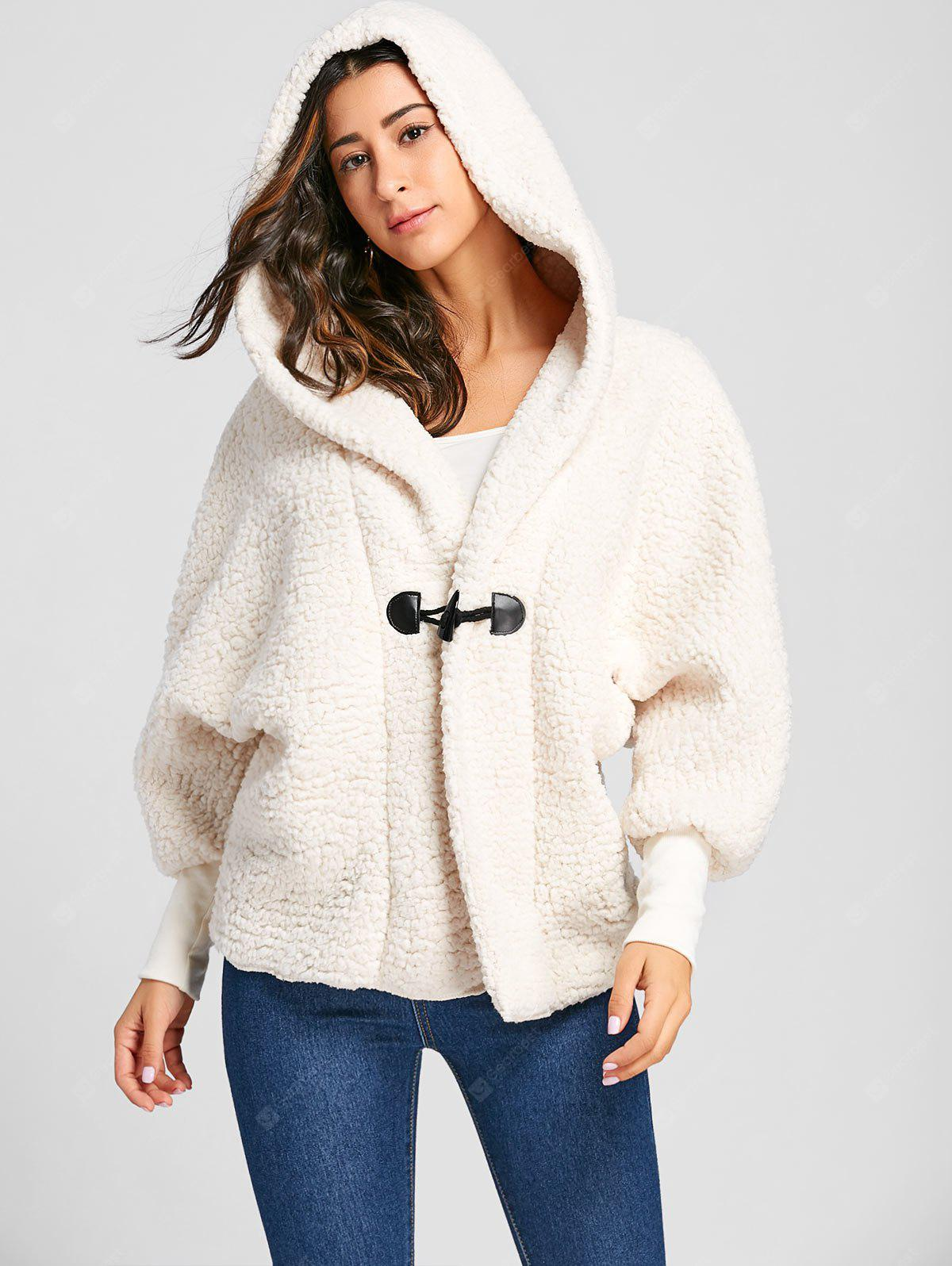 Batwing Sleeve Hooded Fuzzy Coat