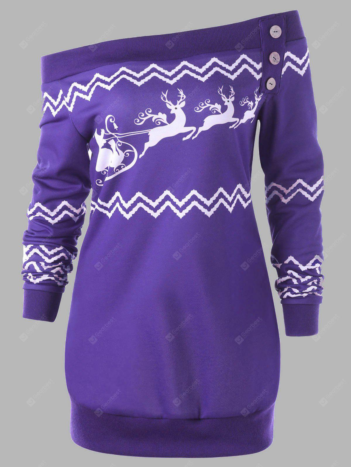 Plus Size Zigzag Deer Skew Neck Christmas Pullover Sweatshirt