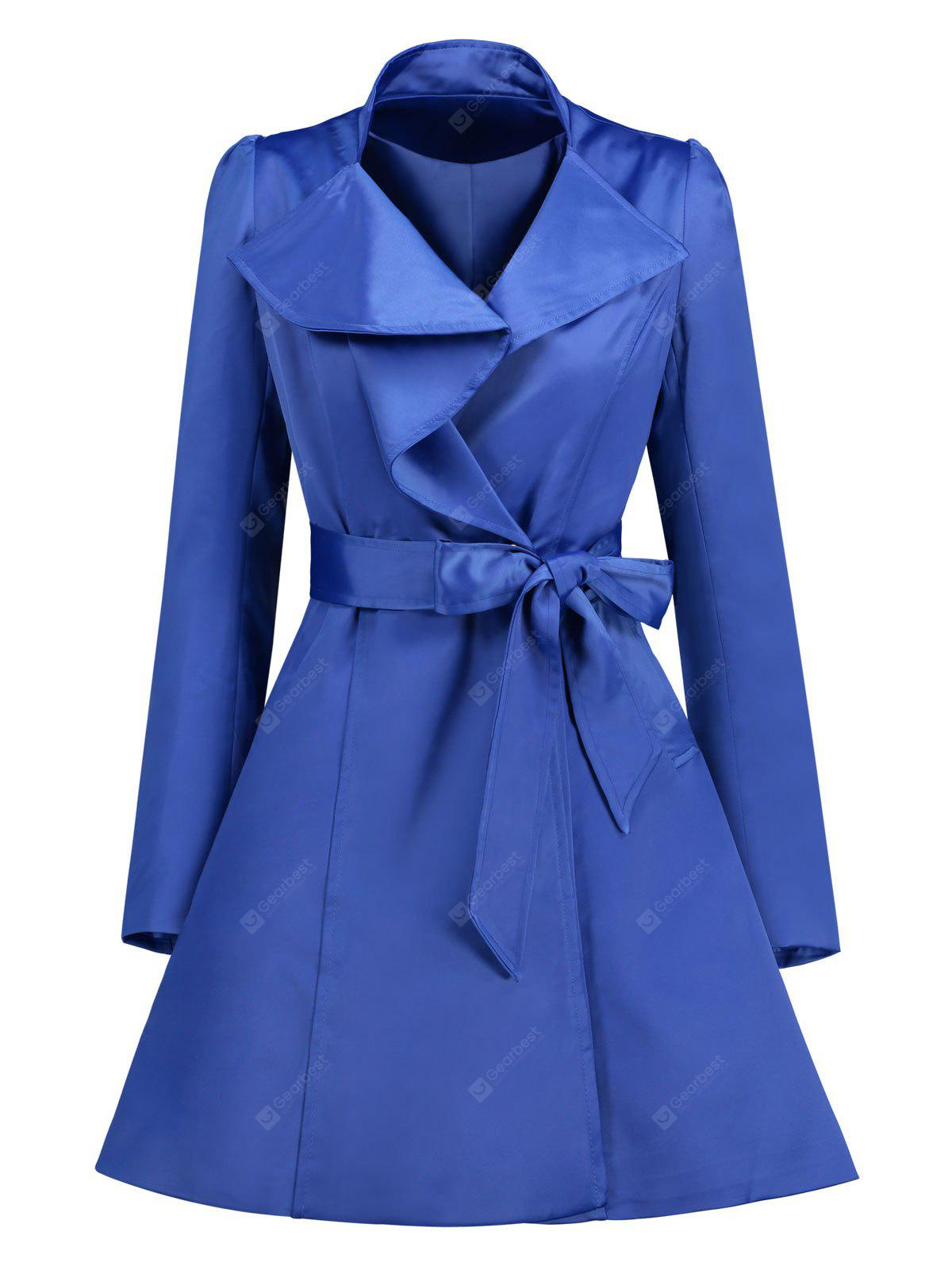 Turn-down Collar Skirted Coat with Belt