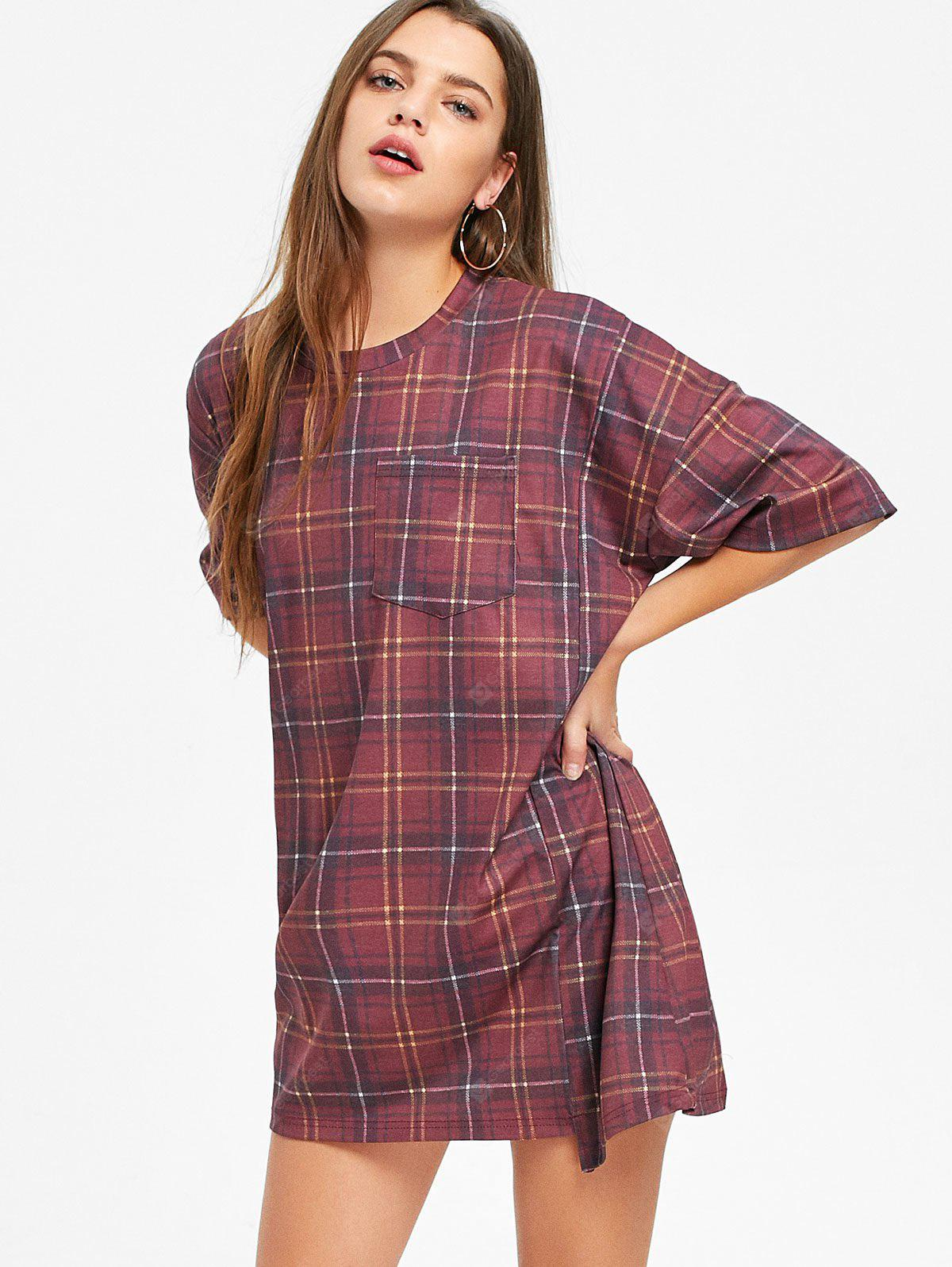 Checked Short Sleeve Shift T Shirt Dress