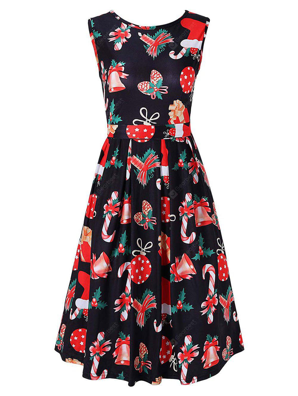Christmas Printed Party A Line Dress