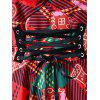 Christmas Plus Size Lace Up Plaid Vintage Dress - RED
