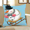 Skiing Snowman Pattern Decorative Pillow Case - COLORMIX