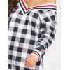 V Neck Plaid Long Sleeve Dress - BLACK