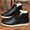 Zip Stitching PU Leather Ankle Boots - BLACK