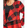 Turn-down Collar Plaid Jacket - RED WITH BLACK