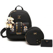 3 Pieces Flower Embroidery Backpack Set