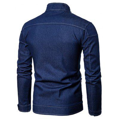 Stand Collar Suture Zip Up Denim JacketMens Jackets &amp; Coats<br>Stand Collar Suture Zip Up Denim Jacket<br><br>Closure Type: Zipper<br>Clothes Type: Jackets<br>Collar: Stand Collar<br>Crafts: Stitching<br>Material: Jean, Polyester<br>Occasion: Going Out, Daily Use, Holiday, Casual<br>Package Contents: 1 x Jacket<br>Season: Winter, Fall<br>Shirt Length: Regular<br>Sleeve Length: Long Sleeves<br>Style: Streetwear, Fashion, Casual<br>Weight: 0.6900kg