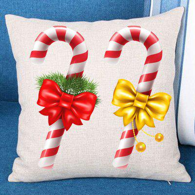 Christmas Bowknot Candy Stick Print Pillowcase