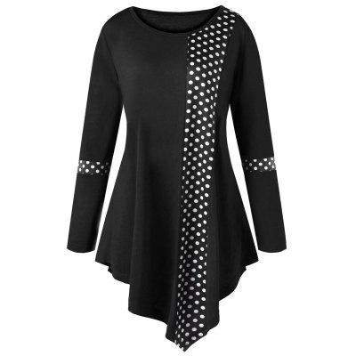 Buy BLACK XL Plus Size Polka Dot Asymmetrical Tunic T-shirt for $17.78 in GearBest store