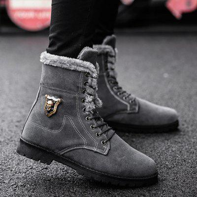 """Metal Embellishment Faux Fur BootsMens Boots<br>Metal Embellishment Faux Fur Boots<br><br>Boot Height: Ankle<br>Boot Type: Fashion Boots<br>Closure Type: Lace-Up<br>Embellishment: Metal<br>Gender: For Men<br>Heel Hight: Flat(0-0.5"""")<br>Heel Type: Chunky Heel<br>Outsole Material: Rubber<br>Package Contents: 1 x Boots (pair)<br>Pattern Type: Solid<br>Season: Spring/Fall, Winter<br>Shoe Width: Medium(B/M)<br>Toe Shape: Round Toe<br>Upper Material: Suede<br>Weight: 1.1200kg"""