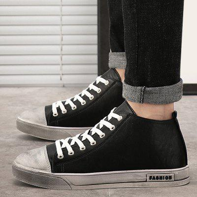 High-top Faux Leather SneakersCasual Shoes<br>High-top Faux Leather Sneakers<br><br>Closure Type: Lace-Up<br>Embellishment: None<br>Gender: For Men<br>Occasion: Casual<br>Outsole Material: Rubber<br>Package Contents: 1 x Sneakers (pair)<br>Pattern Type: Solid<br>Season: Winter, Spring/Fall<br>Shoe Width: Medium(B/M)<br>Toe Shape: Round Toe<br>Toe Style: Closed Toe<br>Upper Material: PU<br>Weight: 1.0800kg