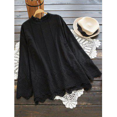 Ruffle Neck Scalloped Hollow Out Blouse