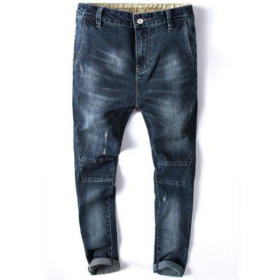 Tapered Fit Zip Fly Whisker Faded Jeans
