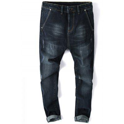 Zip Fly Whisker Design Tapered Jeans
